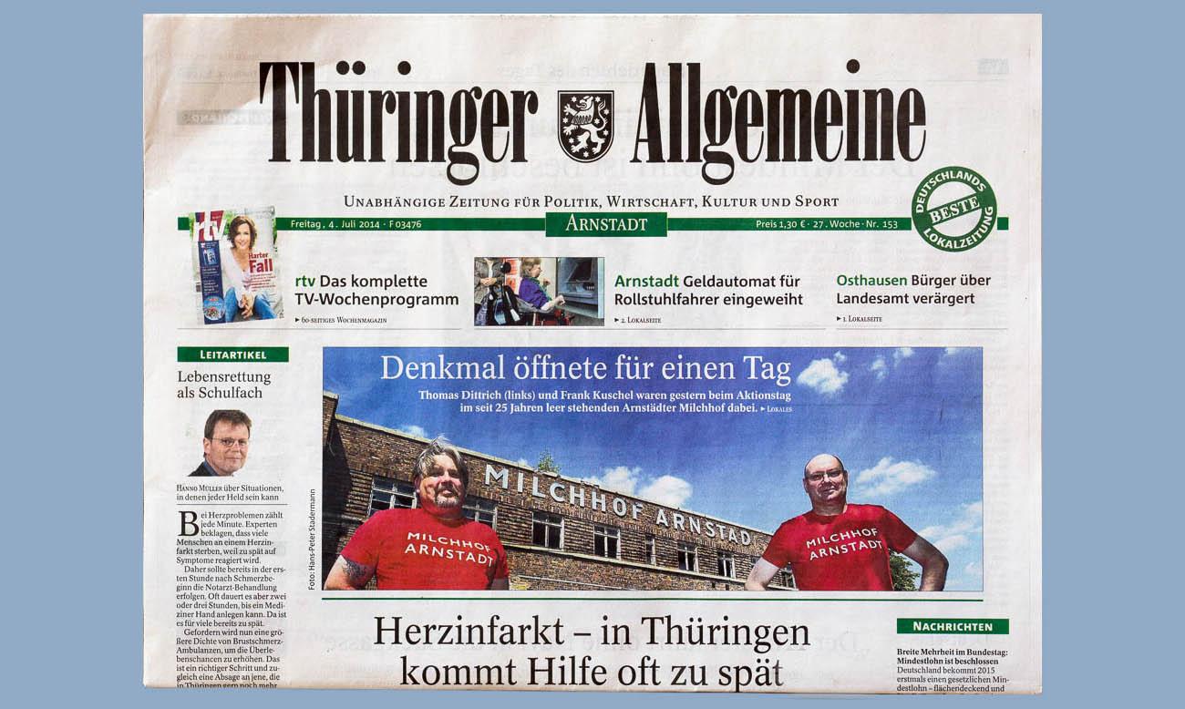 Presse und Radio zum Milchhof Arnstadt